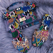Fashion women's snake print one shoulder handbag