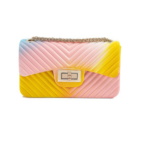 Fashionable and versatile V-shaped chain color jelly bag PVC