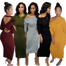 Solid color slim fitting open back dress