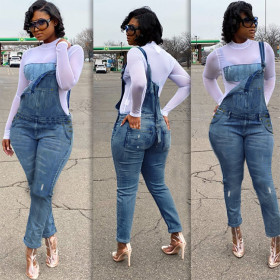 Women's jeans one piece strap pants with holes