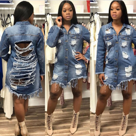 Long torn denim jacket with holes