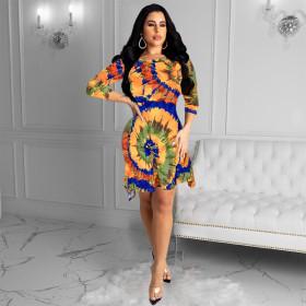 Women's tie dye pocket dress
