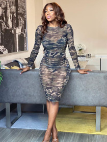 Camouflage mesh perspective tight long sleeve sexy dress