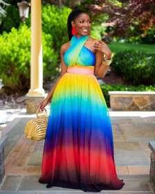Cross necked Pullover off shoulder gradient print dress