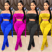 Casual multicolor stacked pants flared sleeve one shoulder two piece set