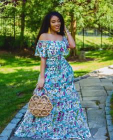 Bohemian one line collar Beach Dress floral Tight Sexy waist closing evening dress