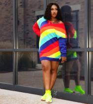 Fashion positioning print color stripe dress