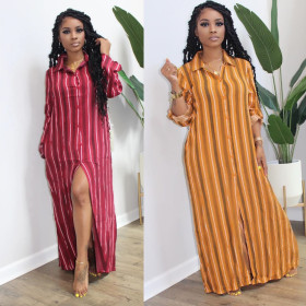 Fashionable color long stripe print casual long shirt dress