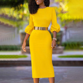 Bubble 7 / 3 sleeve high waist and hip package, slim yellow casual pencil skirt