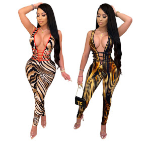 Sexy Leopard striped slim Jumpsuit