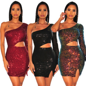 Sexy one shoulder nightclub party sequins slit A-line dress