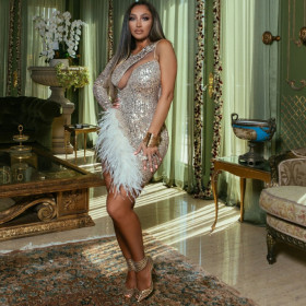 Club Party sequins fashion irregular feather dress