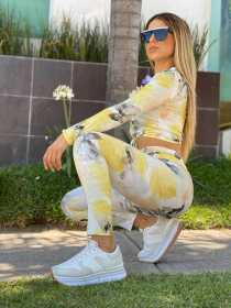 Printed tie dye round neck long sleeve casual suit