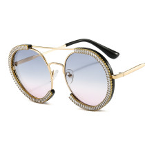 Sunglasses female flash diamond exaggerates personality round frame fashionable sunglasses