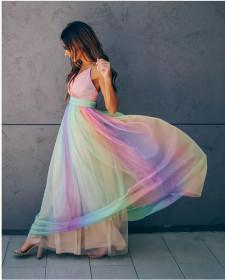 Suspender sexy deep V rainbow mesh suspender dress