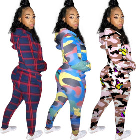 Printed casual two piece hooded suit