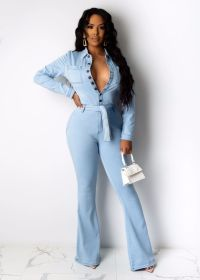 Fashion casual long sleeve denim Jumpsuit with belt