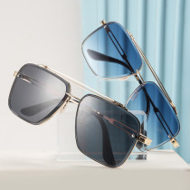 Fashionable double beam trimming metal sunglasses