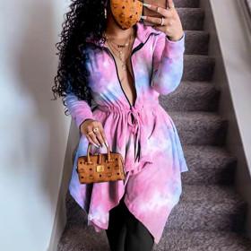 Tie dye printed zipper Lapel fashion casual irregular dress