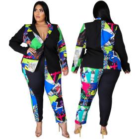 Printed suit coat SLIM STRAIGHT pants two piece women's wear