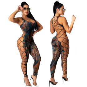 Printed sexy cut-out Jumpsuit
