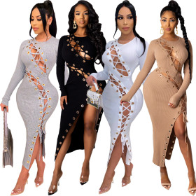 Long sleeve A-line skirt buttonhole sexy bandage dress