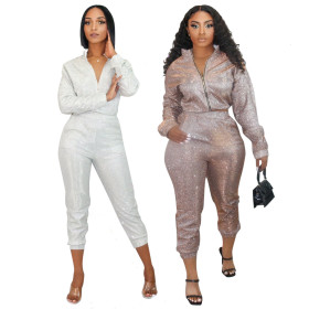 Long sleeve top slim pencil pants sequined two piece home party set