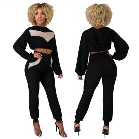 Casual Harem Pants fashion Sequin small design crew neck two piece set