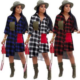 Fashion Plaid irregular dress