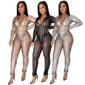 Sexy nightclub women's zipper little high collar Jumpsuit