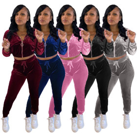 Thickened velvet hooded elastic sports leisure 2-piece set