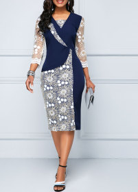 Crew neck slim print commuter hip dress