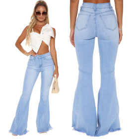 Fashionable high waisted and versatile slim stretch denim flared pants