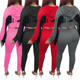 Solid Cotton Hooded sweatpants set with tassel wings at back