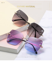Diamond inlaid fashion frameless versatile box trimming Sunglasses
