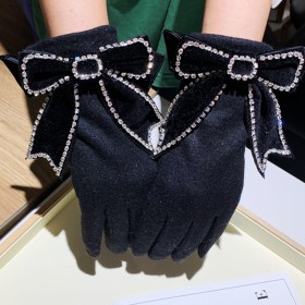 Double layer wool warm gloves for women in winter
