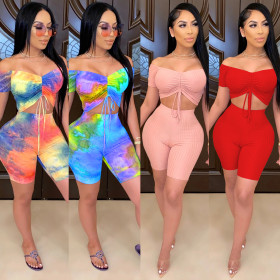 Fashion sexy chest wrap two piece shoulder