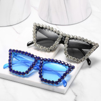 Trendy big frame full diamond glasses with diamond Sunglasses