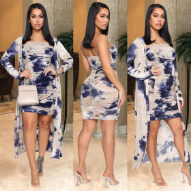 Tie dyed cardigan jacket chest wrapped Pleated Dress 2-piece set