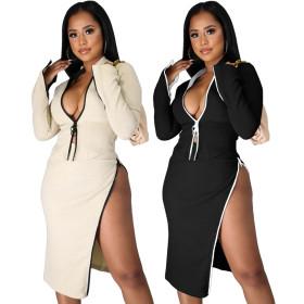 Double drawstring flared sleeve split skirt suit