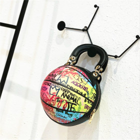 Individual color painting basketball bag chain bar small round bag