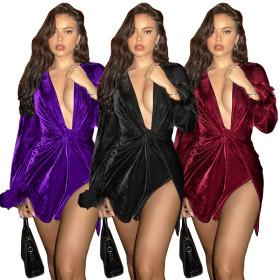 Sexy V-neck kink raw sleeve flared velvet dress
