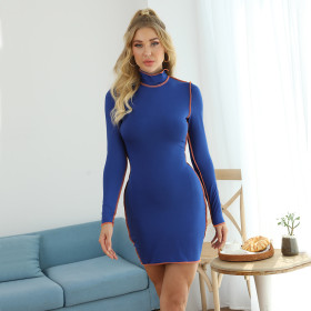Fashionable round neck contrast long sleeve hip skirt dress