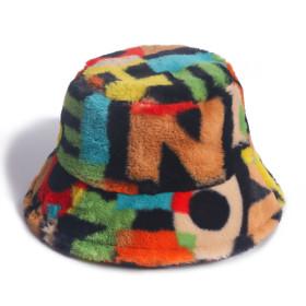 Digital printing rabbit hair fisherman's hat