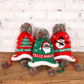 Knitted wool Christmas warm Plush decorative children's hat