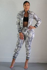 Snake Print zipper thread two piece set