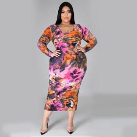 Printed slim dress