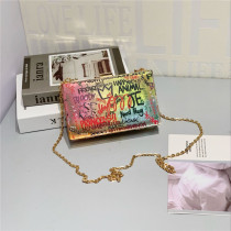 Personalized painted graffiti chain small square bag dinner bag hand bag