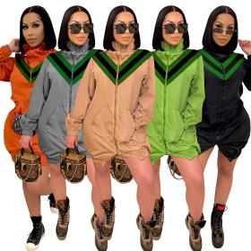 Fashion light luxury V-neck splicing high collar windbreaker coat