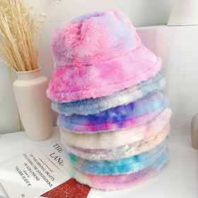 Rainbow Plush fisherman's hat for warmth and ear protection in autumn and winter